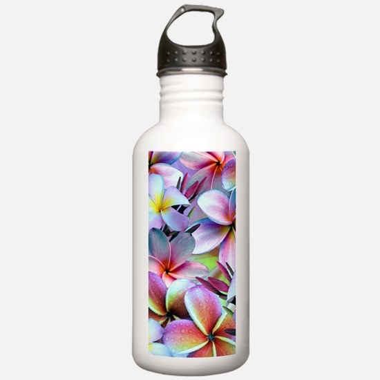 Rainbow Plumeria Water Bottle