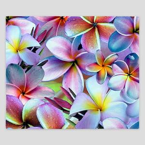 Rainbow Plumeria King Duvet