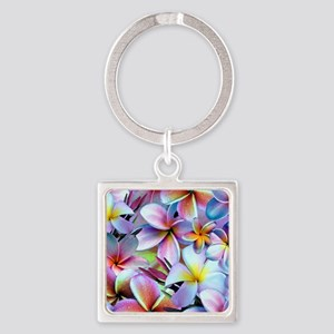 Rainbow Plumeria Keychains