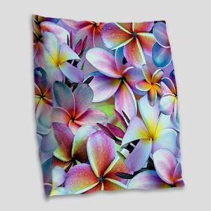 Rainbow Plumeria Burlap Throw Pillow