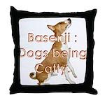 Basenji: Dogs being Catty Throw Pillow
