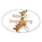 Basenji: Dogs being Catty Oval Sticker
