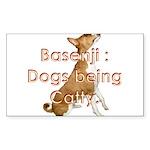 Basenji: Dogs being Catty Rectangle Sticker