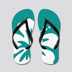 Tropical Teal Blue Green and White Hibiscus Flip F
