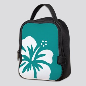 Tropical Teal Blue Green and White Hibiscus Neopre