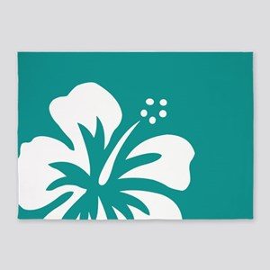 Tropical Teal Blue Green and White Hibiscus 5'x7'A