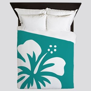 Tropical Teal Blue Green and White Hibiscus Queen