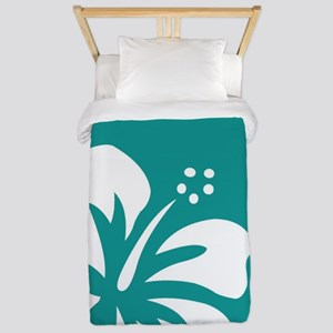 Tropical Teal Blue Green and White Hibiscus Twin D