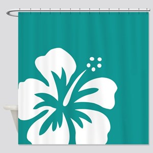 Tropical Teal Blue Green and White Hibiscus Shower
