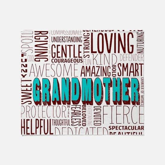 Grandmother Word Cloud Throw Blanket