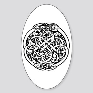 Zoomorphic Celtic Circle Oval Sticker