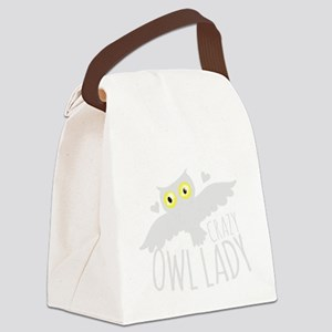 Crazy Owl lady in white Canvas Lunch Bag
