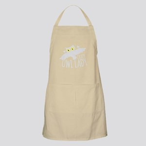Crazy Owl lady in white Apron
