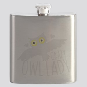 Crazy Owl lady in white Flask