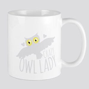 Crazy Owl lady in white Mugs