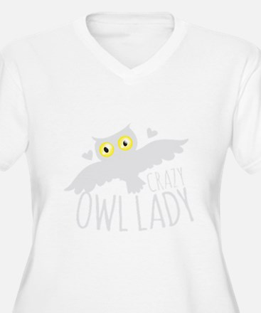 Crazy Owl lady in white Plus Size T-Shirt