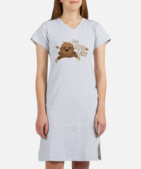 Crazy Sloth lady Women's Nightshirt