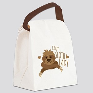 Crazy Sloth lady Canvas Lunch Bag
