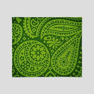 Green Paisley Throw Blanket