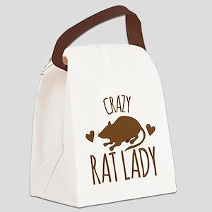 Crazy Rat Lady Canvas Lunch Bag