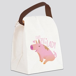 Crazy Pig Lady Canvas Lunch Bag