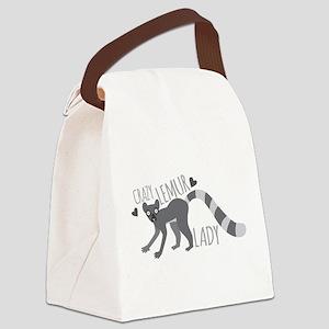 Crazy Lemur Lady Canvas Lunch Bag