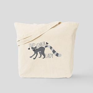 Crazy Lemur Lady Tote Bag