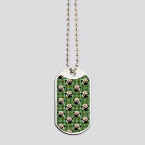 Pugs on Green and Teal Plaid Background Dog Tags