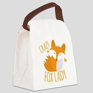 Crazy Fox Lady Canvas Lunch Bag