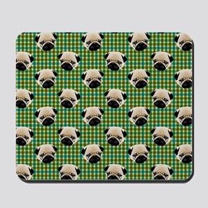 Pugs on Green and Teal Plaid Background Mousepad