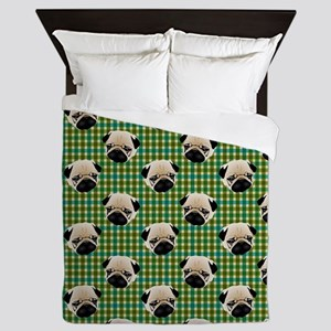 Pugs on Green and Teal Plaid Backgroun Queen Duvet