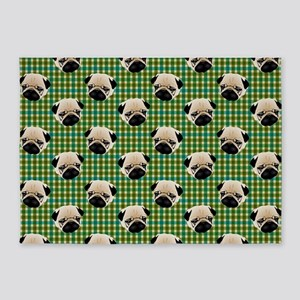 Pugs on Green and Teal Plaid Backgr 5'x7'Area Rug