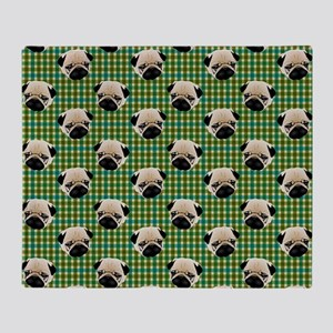 Pugs on Green and Teal Plaid Backgro Throw Blanket