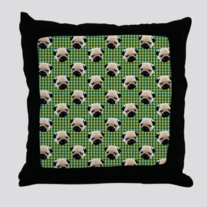 Pugs on Green and Teal Plaid Backgrou Throw Pillow