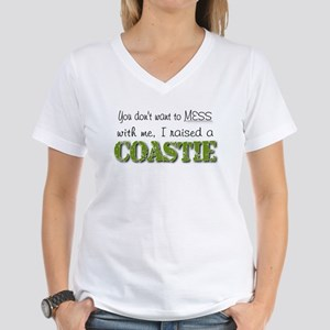 I raised a Coastie (green) Women's V-Neck T-Shirt