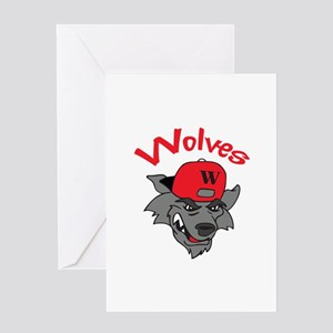 WOLVES MASCOT Greeting Cards