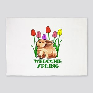 BUNNY WELCOME SPRING 5'x7'Area Rug