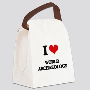 I Love World Archaeology Canvas Lunch Bag