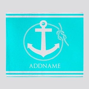 Aqua and White Anchor Personalized Throw Blanket