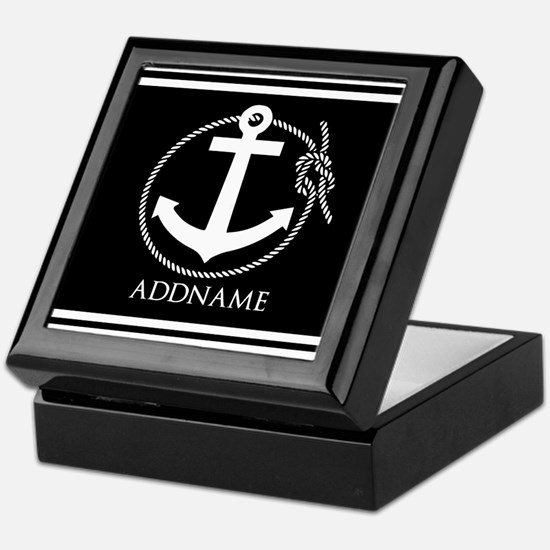Black and White Nautical Anchor Perso Keepsake Box