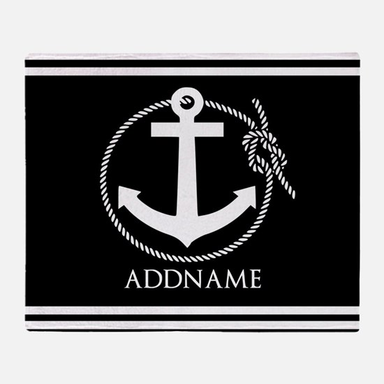 Black and White Nautical Anchor Pers Throw Blanket