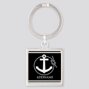 Black and White Nautical Anchor Pe Square Keychain