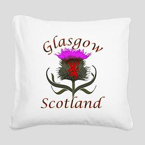 Glasgow Scotland thistle Square Canvas Pillow