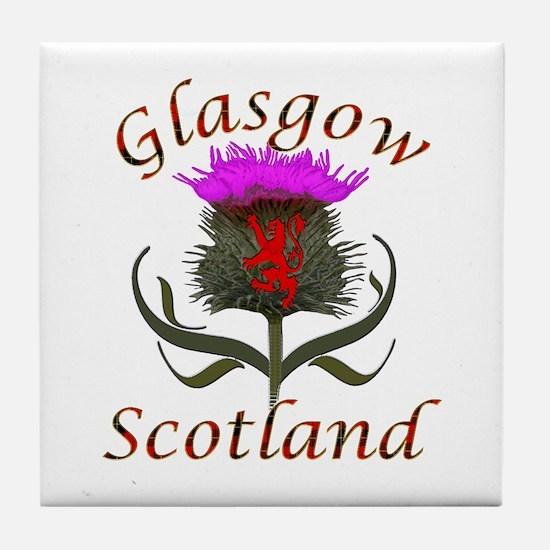 Glasgow Scotland thistle Tile Coaster