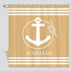Burly Wood Rope Anchor Personalized Shower Curtain