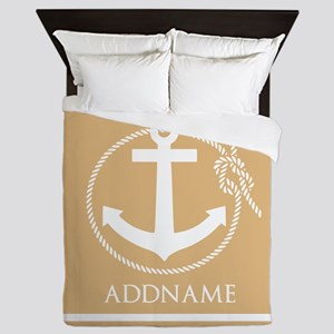 Burly Wood Rope Anchor Personalized Queen Duvet