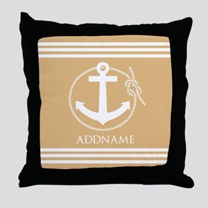 Burly Wood Rope Anchor Personalized Throw Pillow