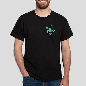 Aqua I Love You Dark T-Shirt