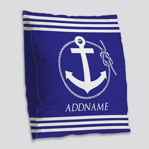 Blue Nautical Rope and Anchor Burlap Throw Pillow