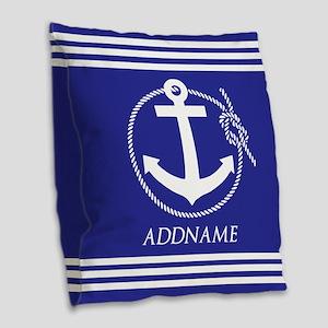 Blue Nautical Rope and Anchor Burlap Throw Pillow
